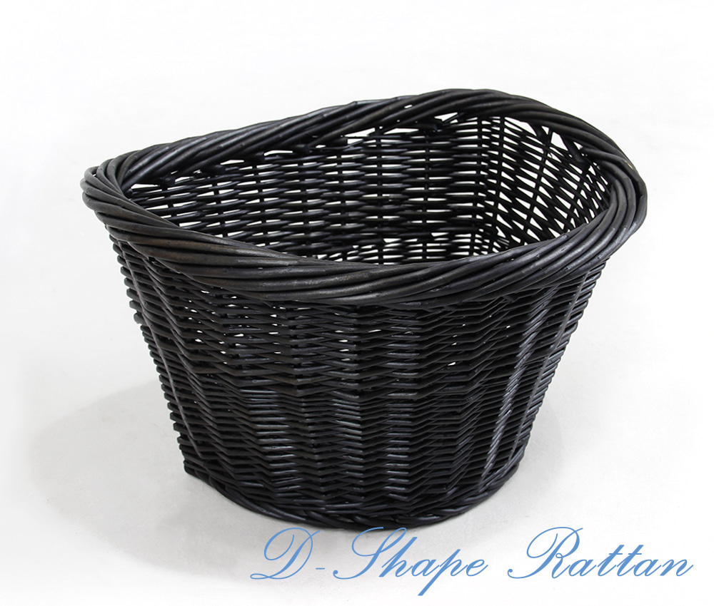 D Shape Rattan Basket  Black Rattan  Classic Bicycle Basket